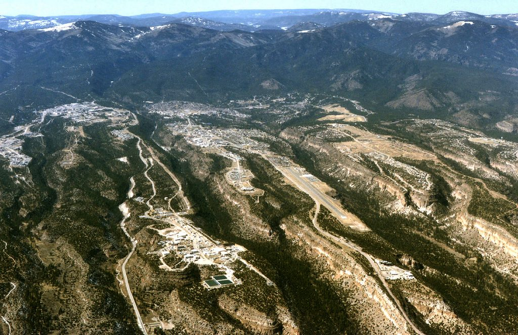 high southwest view aerial of Los Alamos Los Alamos National Laboratory (left) and Los Alamos townsite (middle and right)